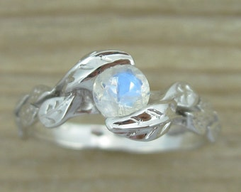 Rainbow Moonstone White Gold Leaf Ring, Rainbow Moonstone Engagement Ring, Moonstone promise ring, 14K/18K Solid Gold Rainbow Moonstone Ring