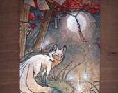 16x24 Fabric Wall Scroll / Kitsune Fox Yokai / Japanese Asian Art Style / Home Decor Poster
