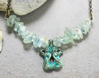 Mermaid Necklace, Aquamarine, Beach Necklace, Beaded Blue Necklace, Beach wedding jewelry, Necklace rolo chain, nautical bridal necklace
