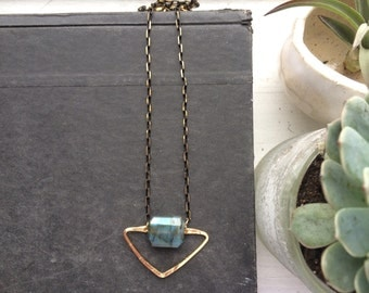 A R C H E R   Hammered Gold Brass Gemstone Pendant Necklace