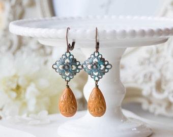 Verdigris Filigree Dangle Earrings, Orange Etched Lucite Bead Drop Earrings, Blue Patina Copper Filigree, Boho Chic, Bohemian Earrings