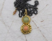 Coral & Serpentine Pendant - Solid Gold Pendant - 24k Gold Necklace - Ethnic Gold Necklace