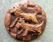 Vintage Button, Wooden Button, Carved Wooden Button, Dogs Button, Wooden Carving, Vintage Sewing Supply, Scottie Dog Button, Large Button