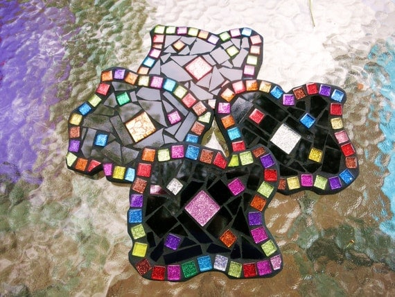 CUSTOM COASTERS - Funky Shaped Mosaic Coasters in Black Stained Glass with a Multi Colored Glitter Tile Border - Set of 4 - - Unique - OOAK