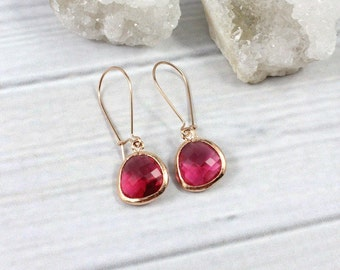 Rose Gold Earrings, Ruby Earrings, Minimalist Earrings, Dangly Earrings, Dangle Earrings, Minimal Earrings, July Birthstone, Gift for Her