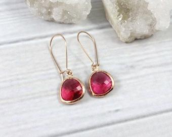 Rose Gold Earrings, Ruby Earrings, Minimalist Earrings, Dangly Earrings, Dangle Earrings, Minimal Earrings, July Birthstone, Gifts for Her
