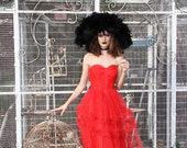 Vintage 50s Scarlet Red Original 1950's Valentines Dress Prom Party STRAPLESS Dress  // TatiTati Style Vintage on Etsy