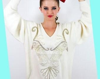 Embroidered BIRDS Sweater Vintage Lambswool RARE GOLD Birds //  TatiTati Style on Etsy