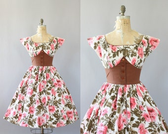 Vintage 50s Dress/ 1950s Cotton Dress/ California Cottons Pink Rose Print Cotton Dress w/ Brown Waistband L