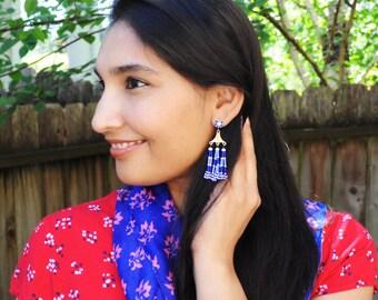 Tassel earrings | blue tassel earrings | gold tribal earrings | white blue bohemian earrings | white tassel earrings | unique gift for her