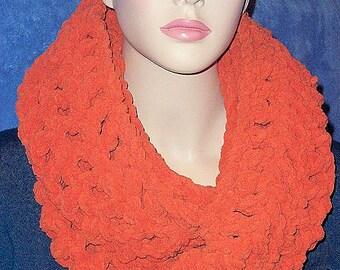 Crochet Infinity Scarf, Orange Crochet Infinity Scarf, Crochet Scarf, Circle Scarf, Chunky Crochet Scarf, Winter Scarf, Crochet Infinity