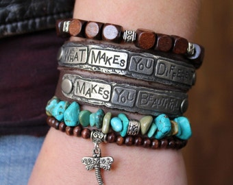 What Makes You Different Makes You Beautiful Bracelet, Double Wrap Inspirational Quote Leather Bracelet Brown Black