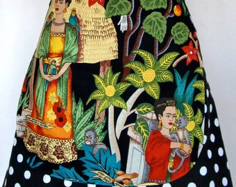 Apron-Frida Kahlo-Frieda-Reversible 2 Aprons in One! Polka Dots-Folklorico-Artist-Hearts-Milagros-Monkeys-Parrots-Garden-Day of the Dead