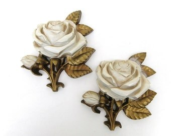 Mid Century Wall Decor / Roses Wall Plaques / Homco Home Interiors Roses, Set of 2,  Wall Hangings
