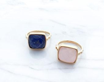 Gold Ring, Gemstone Gold Ring, 24k Gold Plated Ring, Lapis Ring, Blue Ring, Rose Quartz Ring, Pink Ring, Faceted Gemstone Ring, Stone Ring