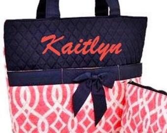 Vine Geometric Personalized Diaper Bag Set Coral Navy