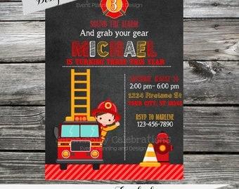 Firefighter Invitation, Birthday Invitation,  Printed Invitation, Boy Firefighter Invite, Boy Birthday Party, Chalkboard Invite, Firetruck