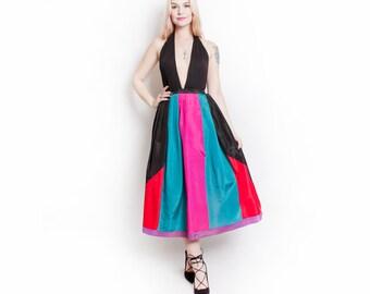 Vintage 80s does 50s Skirt - Black Taffeta Color Block Full Skirt 1980s - Small
