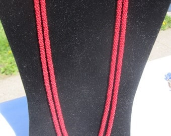 Red Beaded Rope Necklace Flapper necklace