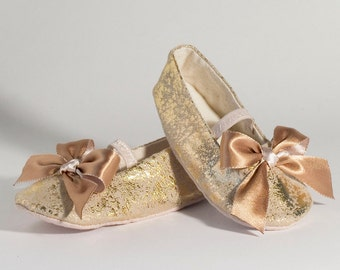Gold Toddler Shoe, Gold Baby Mary Jane, Ballet Slipper, Little Girls Wedding Shoe, Flower Girl, Summer Wedding, Dance, Baby Souls Couture