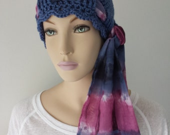 Chemo Hat With Scarf, Hat, Cloche, Beanie, Boho, Peacock Blue & Waterfall Scarf, Cancer Patients, Everyday Wear