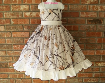 CAMO Halter Dress / Snow Camo + White / Flower Girl / Wedding / Bridesmaid / Pageant / Infant/ Baby/ Girl/ Toddler/ Custom Boutique Clothing