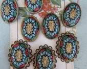"""Vintage Incised """"Mosaic Style"""" German  Cabochon With Or Without  Setting"""