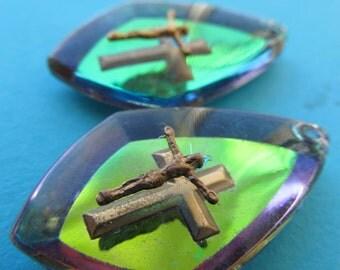 Vintage Iridescence Religious Teardrop Crystal