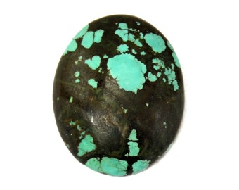 Turquoise Cabochon Stone (29mm x 24mm x 7mm) 34.5cts - Oval Cabochon - Natural Turquoise -Tibetan Turquoise - Blue Turquoise - Old Turquoise