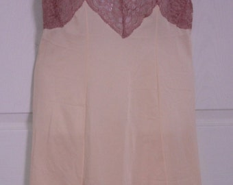 """Vintage PANDORA LINGERIE Full Slip - Champagne and Taupe - Waist is approx. 30"""""""
