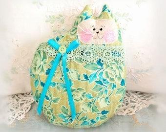 Cat Pillow Doll Cloth Doll 7 inch Cat, Olive Green Aqua Teal Print, Primitive Soft Sculpture Handmade CharlotteStyle Decorative Folk Art