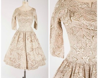 Vintage 1950s Dress • Desert Agleam • Pink Gold Paisley Cotton 50s Dress with Glittered Full Skirt Size Medium