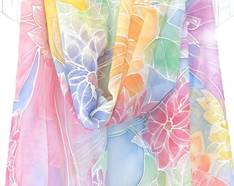 Hand Painted Silk Shawl, Wedding Shawl, Bridal, Blue Shawl, Rainbow Multicolor Pastel Silk chiffon, Fairy Wildflower Floral, Made to order