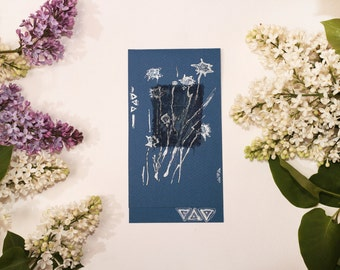 Silver star flowers II - primitive art - astronomy flowers - dark blue sliver royal blue navy - blank greeting card OOAK