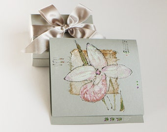Blank art greeting card - Handmade greeting card - Light pink orchid on silver - Venus's shoe - lady's-slipper orchid - OOAK