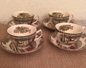 VTG The FRIENDLY VILLAGE Johnson Brothers England set of 4 cups and saucers