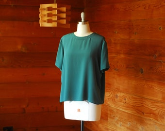 vintage silk blouse / green silk t shirt top / large XL