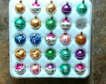 Vintage Christmas Ornaments Feather Tabletop Tree Small Mini  Set of 24 Poland