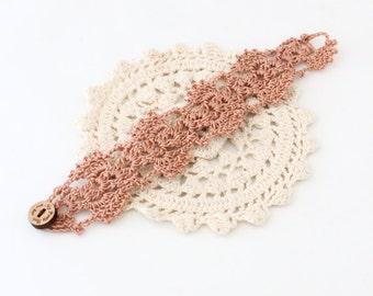 Vegan Jewelry - Crochet Bracelet - Crochet Cuff - Crochet Cuff Bracelet - Vegan Bracelet - Cruelty Free - Boho Jewelry - Copper Bracelet