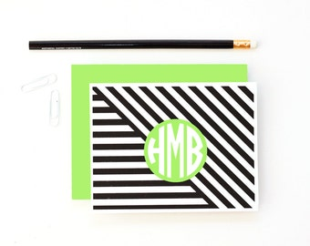 Stationery Personalized Stationary Monogram Kids Thank You Notes Lime Green Black Custom Note Cards for Girls Modern Geometric Hostess Gifts