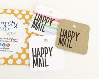 Happy Mail Packaging - Custom Thank You Tags - Packaging Supplies - Party Favor Tags - Gift Wrap & Packaging