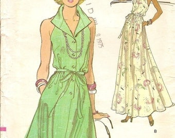 Vogue Halter Dress Sz 10 Vintage 80s Pattern