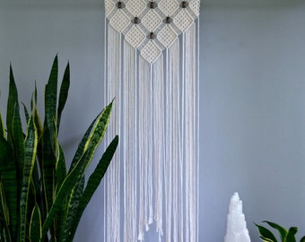 """SALE Macrame Wall Hanging - Natural White Cotton Rope on 18"""" Wooden Dowel w/ Beads - Boho Home, Nursery Decor - Ready To Ship"""