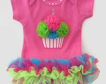 Hot Pink Bodysuit with Multi Tutu Cupcake and Bling first birthday onesie, cupcake birthday, tutu onesie, first birthday, birthday party