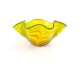 LARGE Yellow Blown Glass Bowl