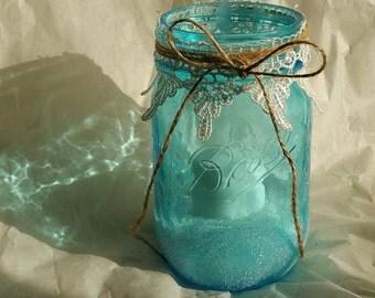 Frosted Blue Mason Jar Lantern, Candle Holder, Christmas Decoration, Heritage Blue Mason Jars, Weddings