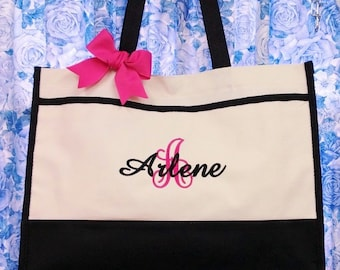 Set of 7 Personalized Tote Bags Monogram Bridesmaids Wedding Party Gifts
