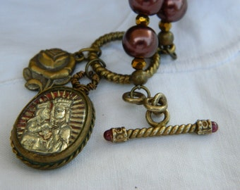 AUBERGINE SACRED LOURDES vintage repurposed assemblage jewelry necklace pendant berry wine mercury glass red religious by atelier paris