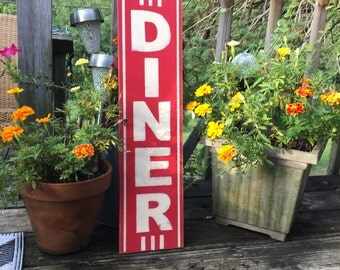 Retro DINER sign/hand painted/red kitchen art vertical sign/distressed sign