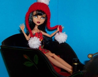 Red Hat with White Pompoms for Monster High Doll